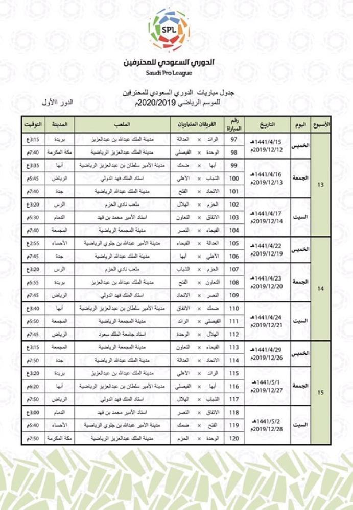 تعر ف على جدول الدوري السعودي للمحترفين للموسم الرياضي 2019 2020