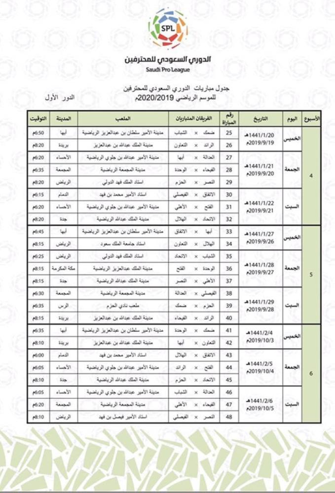 تعر ف على جدول الدوري السعودي للمحترفين للموسم الرياضي 2019