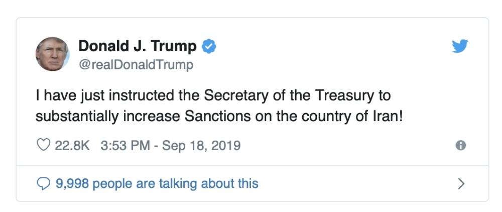 ترامب : تشديد العقوبات على إيران