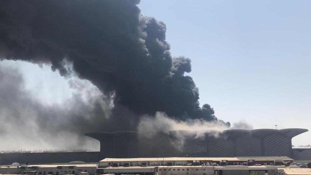 5 مصابين في حريق محطة قطار الحرمين بجدة المدينة