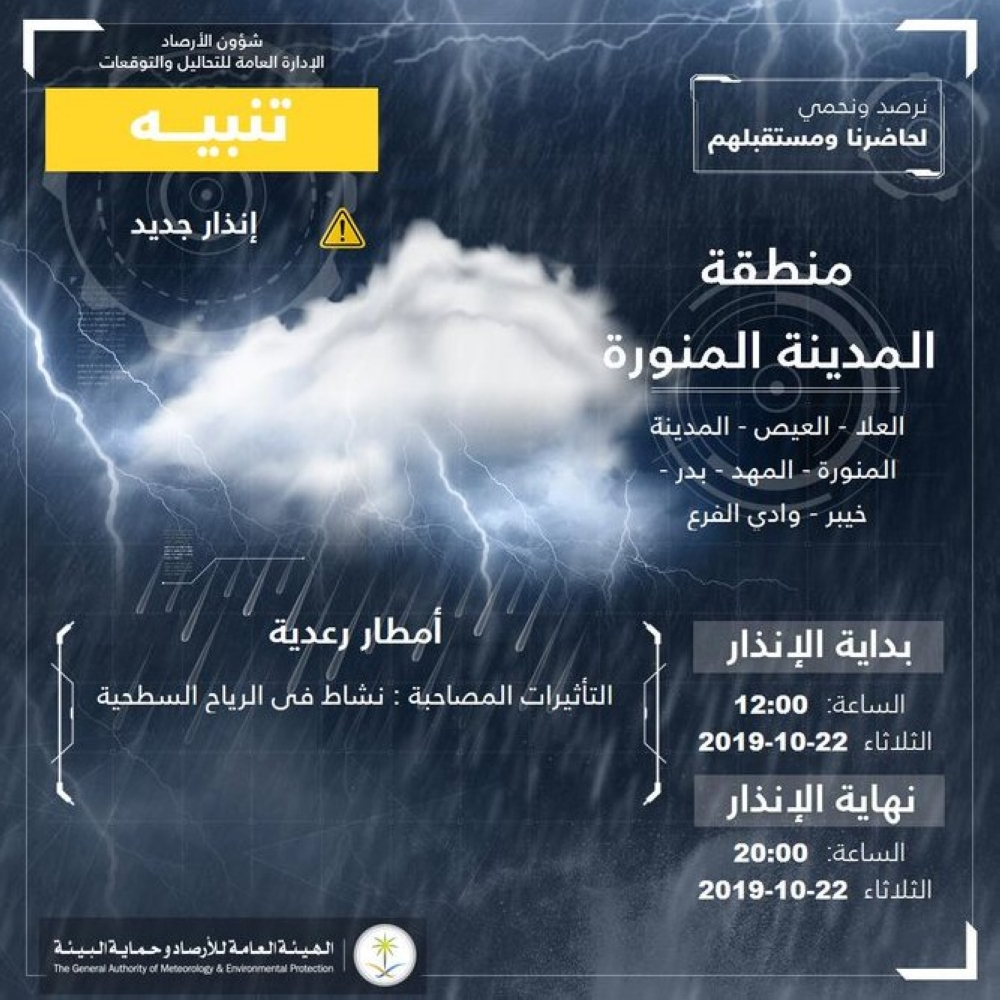 الأرصاد  تنبه: أمطار رعدية على منطقة المدينة المنورة - المدينة
