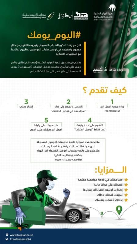 هدف تدعم السعوديين العاملين في توصيل الطلبات بـ3 ألف ريال شهري ا المدينة