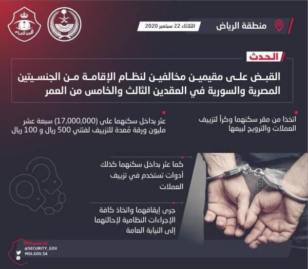 القبض على مقيمين مخالفين قاما بتزييف العملات والترويج لبيعها